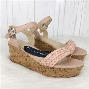 Nautical pink rope wedge sandals